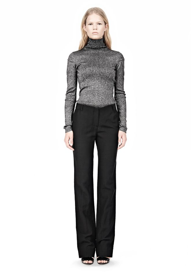 ALEXANDER WANG RIBBED LUREX TURTLENECK WITH PINCHED DARTS TOP Adult 12_n_f