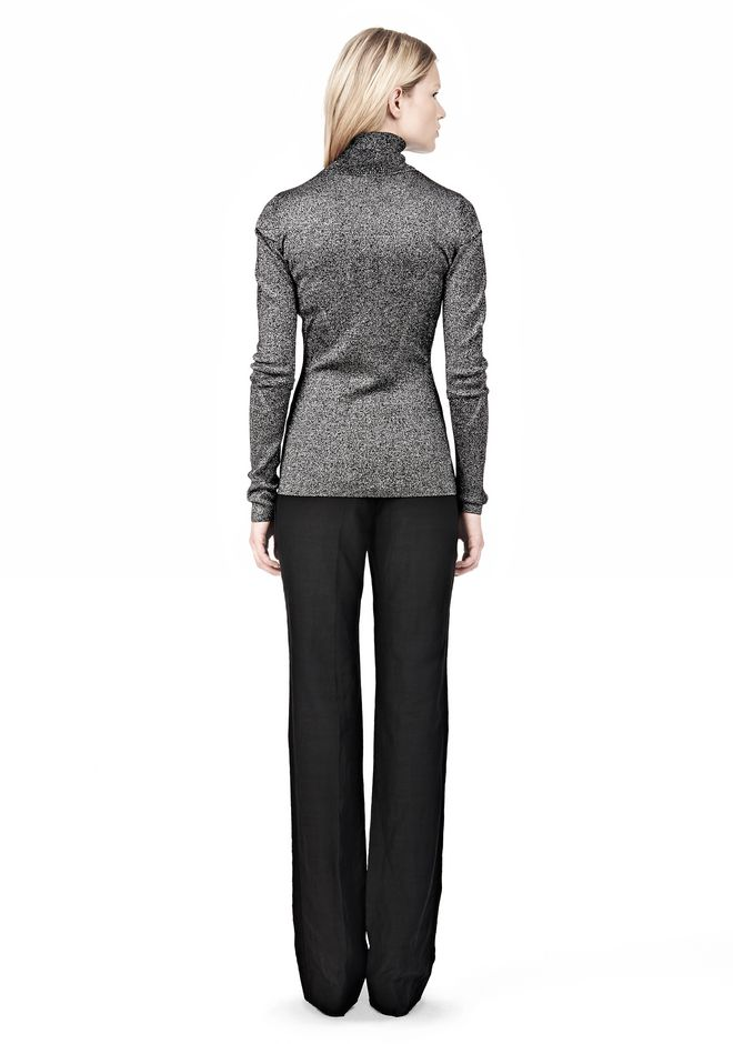 ALEXANDER WANG RIBBED LUREX TURTLENECK WITH PINCHED DARTS TOP Adult 12_n_r