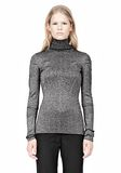 ALEXANDER WANG RIBBED LUREX TURTLENECK WITH PINCHED DARTS TOP Adult 8_n_e