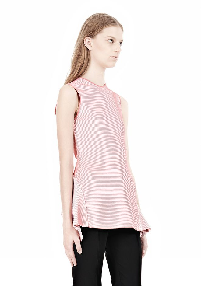 ALEXANDER WANG OPTICAL STRIPE PEPLUM TANK Sleeveless jumper Adult 12_n_a