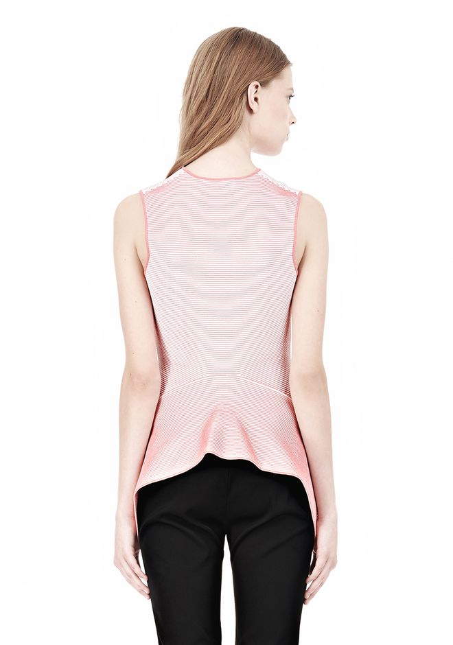 ALEXANDER WANG OPTICAL STRIPE PEPLUM TANK Sleeveless jumper Adult 12_n_d
