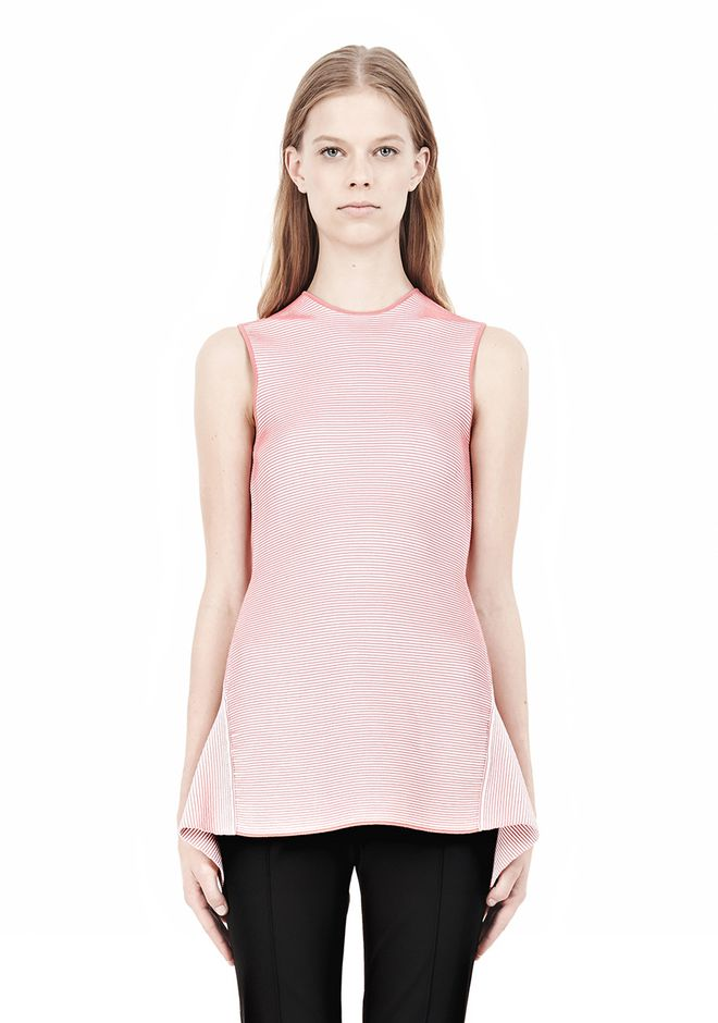 ALEXANDER WANG OPTICAL STRIPE PEPLUM TANK Sleeveless jumper Adult 12_n_e
