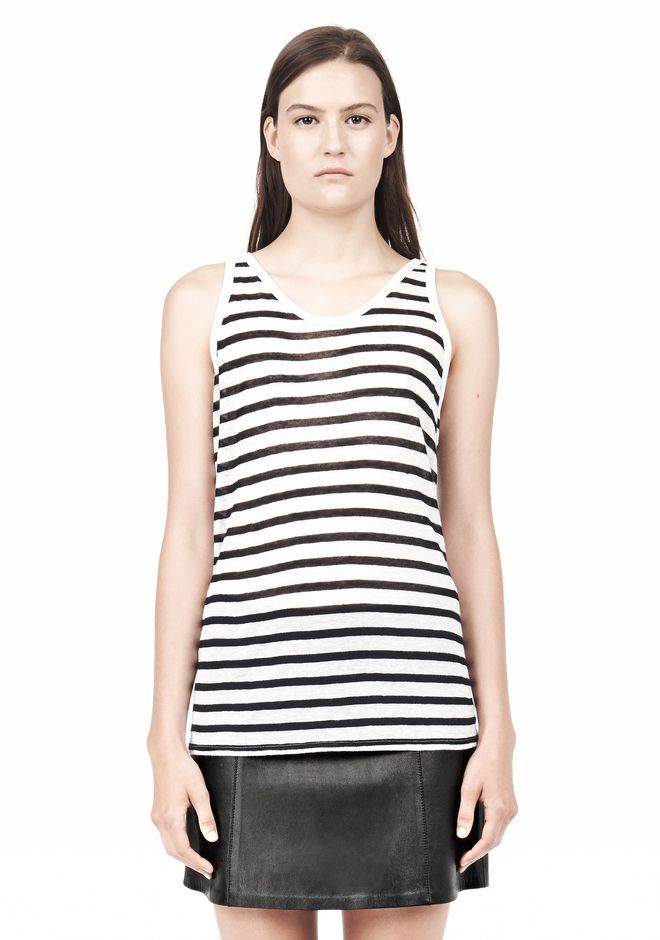 T by ALEXANDER WANG STRIPE RAYON LINEN TANK TOP Adult 12_n_e