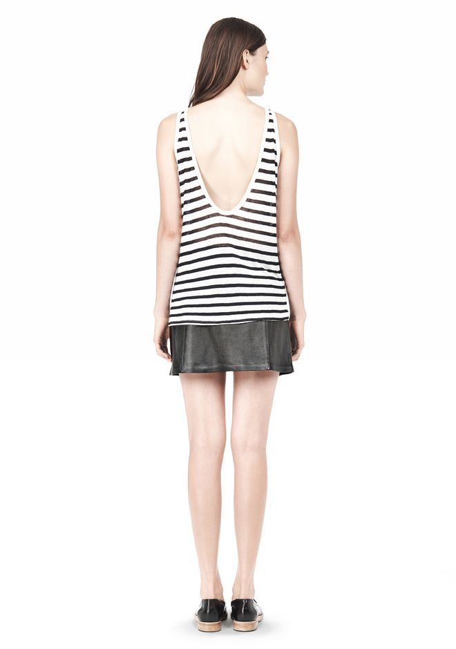 T by ALEXANDER WANG STRIPE RAYON LINEN TANK TOP Adult 12_n_r