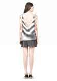 T by ALEXANDER WANG STRIPE RAYON LINEN TANK TOP Adult 8_n_r