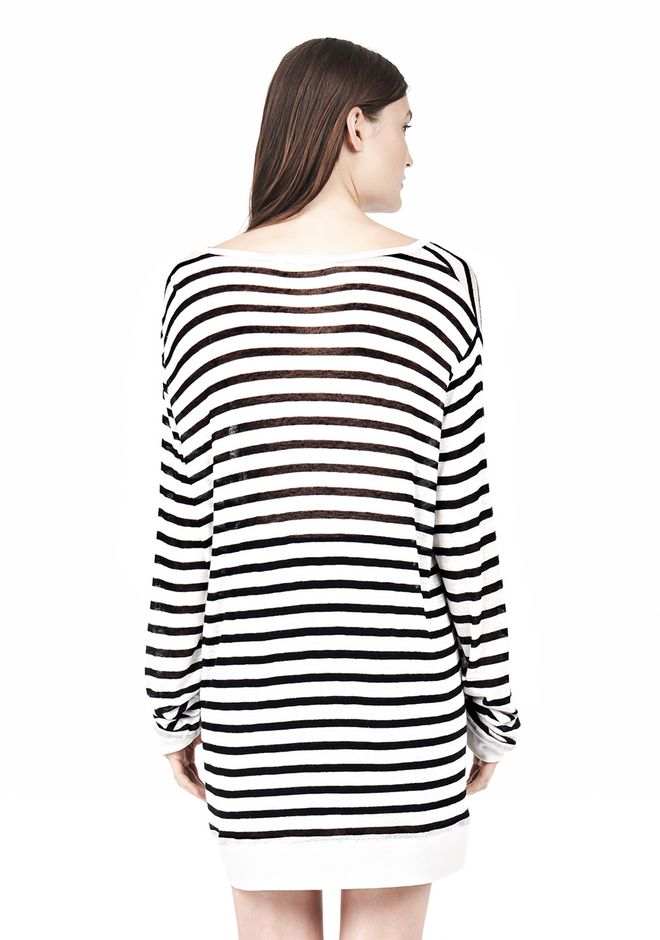 T by ALEXANDER WANG STRIPE RAYON LINEN LONG SLEEVE TEE TOP Adult 12_n_d
