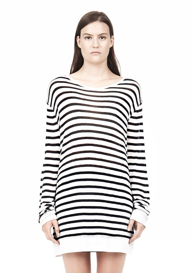 T by ALEXANDER WANG STRIPE RAYON LINEN LONG SLEEVE TEE TOP Adult 12_n_e