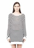 T by ALEXANDER WANG STRIPE RAYON LINEN LONG SLEEVE TEE TOP Adult 8_n_e