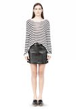 T by ALEXANDER WANG STRIPE RAYON LINEN LONG SLEEVE TEE TOP Adult 8_n_f