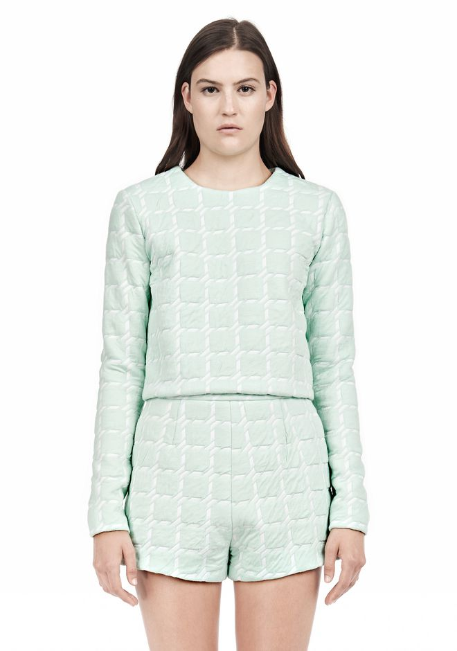 T by ALEXANDER WANG GRID JACQUARD BONDED NEOPRENE LONG SLEEVE TOP Long sleeve t-shirt Adult 12_n_e