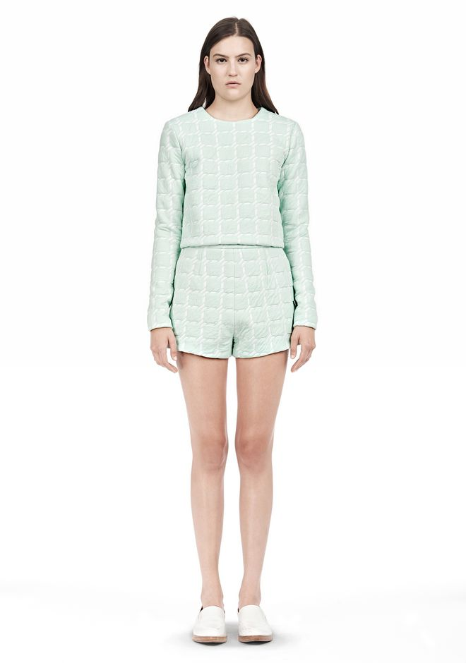 T by ALEXANDER WANG GRID JACQUARD BONDED NEOPRENE LONG SLEEVE TOP Long sleeve t-shirt Adult 12_n_f