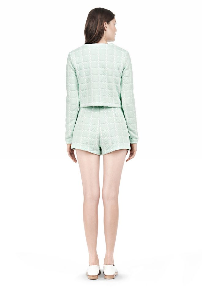 T by ALEXANDER WANG GRID JACQUARD BONDED NEOPRENE LONG SLEEVE TOP Long sleeve t-shirt Adult 12_n_r