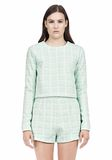T by ALEXANDER WANG GRID JACQUARD BONDED NEOPRENE LONG SLEEVE TOP Long sleeve t-shirt Adult 8_n_e