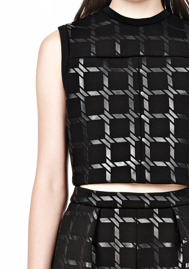 T by ALEXANDER WANG GRID PRINT JERSEY BONDED NEOPRENE CROPPED TANK TANK Adult 12_n_a