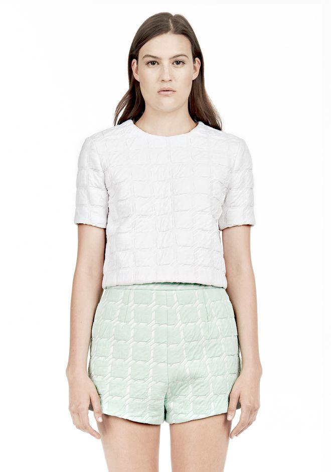 T by ALEXANDER WANG GRID JACQUARD BONDED NEOPRENE SHORT SLEEVE TOP Short sleeve t-shirt Adult 12_n_e