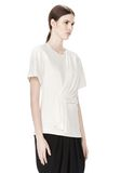 ALEXANDER WANG EXCLUSIVE GATHERED CASCADE TEE TOP Adult 8_n_a