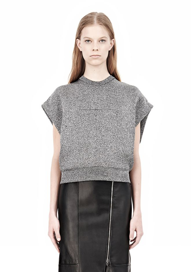 ALEXANDER WANG CROPPED LUREX MUSCLE PULLOVER Sleeveless jumper Adult 12_n_e