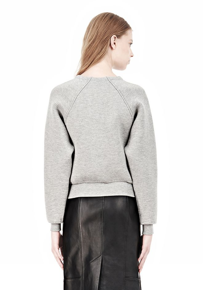 ALEXANDER WANG DOUBLE FACED CROP PULLOVER NEOPRENE Crewneck Adult 12_n_d