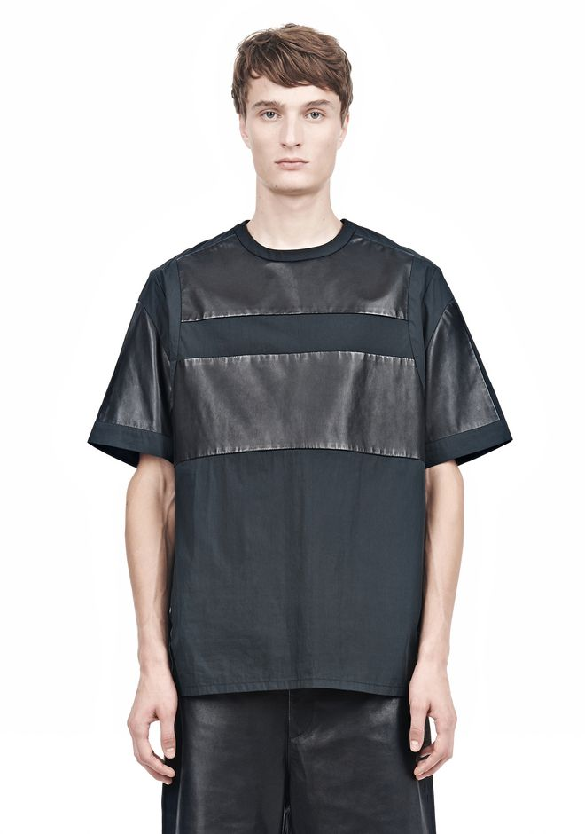 ALEXANDER WANG LEATHER PATCHWORK SHORT SLEEVED TEE Short sleeve t-shirt  12_n_e