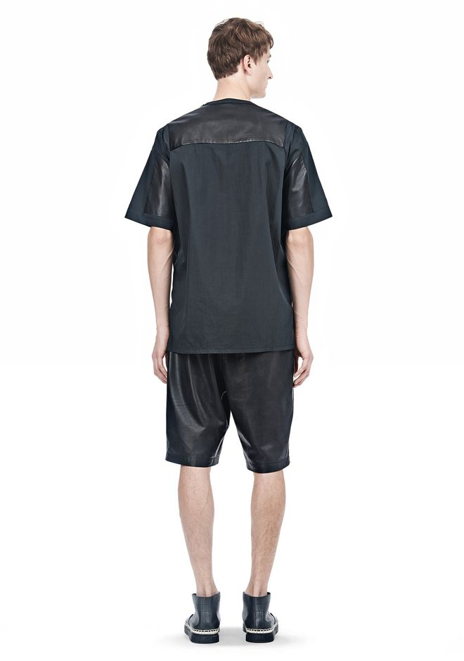 ALEXANDER WANG LEATHER PATCHWORK SHORT SLEEVED TEE Short sleeve t-shirt  12_n_r