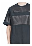 ALEXANDER WANG LEATHER PATCHWORK SHORT SLEEVED TEE Short sleeve t-shirt  8_n_a