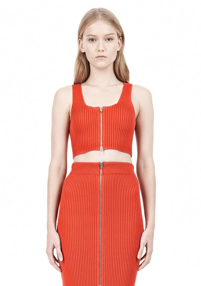 T by ALEXANDER WANG COTTON RIB KNIT TWO-WAY ZIP CROPPED TANK TOP Adult 12_n_e