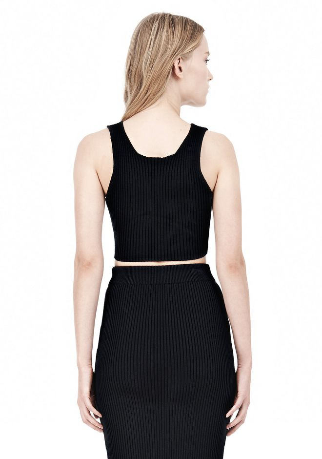 T by ALEXANDER WANG COTTON RIB KNIT TWO-WAY ZIP CROPPED TANK TOP Adult 12_n_d