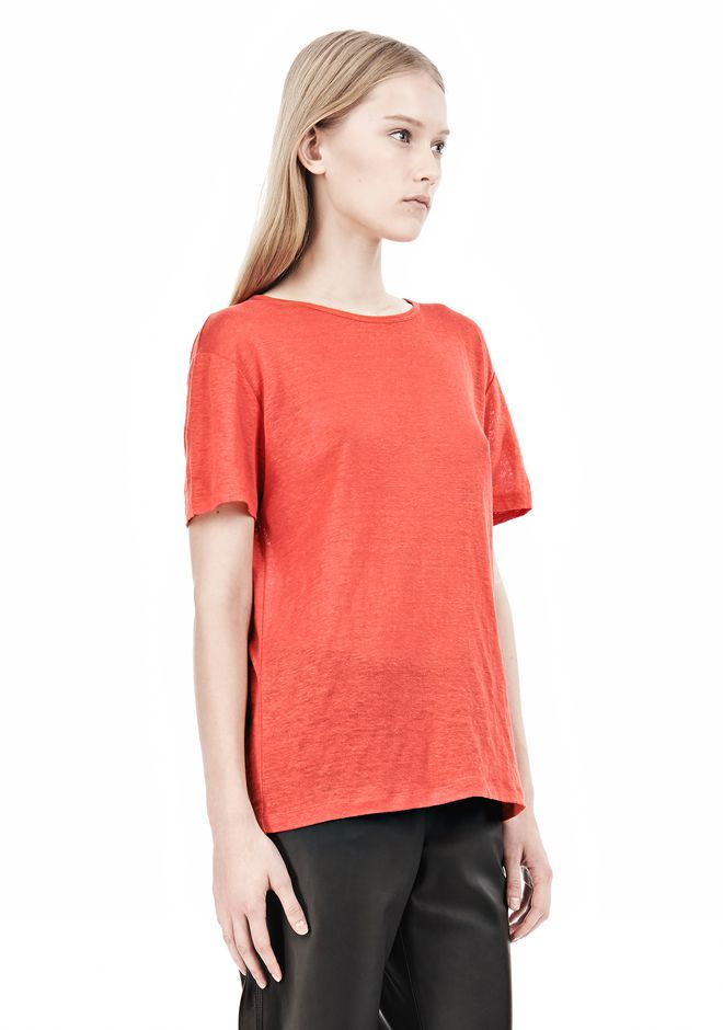 T by ALEXANDER WANG LINEN SILK CREWNECK SHORT SLEEVE TEE Short sleeve t-shirt Adult 12_n_a