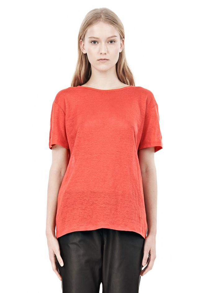 T by ALEXANDER WANG LINEN SILK CREWNECK SHORT SLEEVE TEE Short sleeve t-shirt Adult 12_n_e