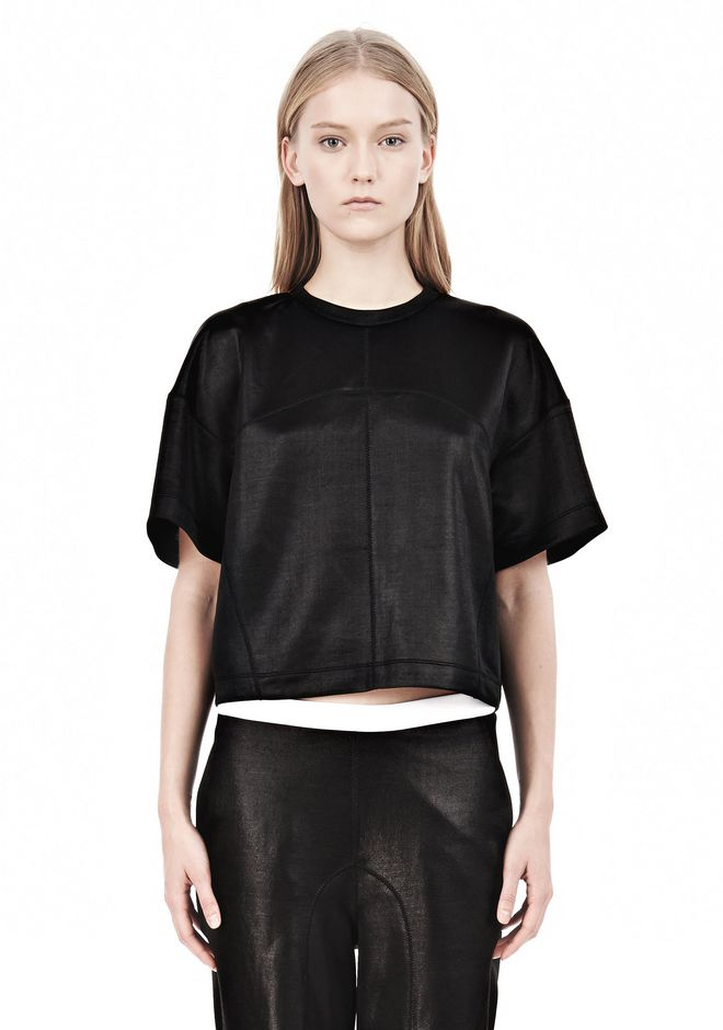 T by ALEXANDER WANG SHINY DOUBLE KNIT BOXY SHORT SLEEVE TEE Short sleeve t-shirt Adult 12_n_e