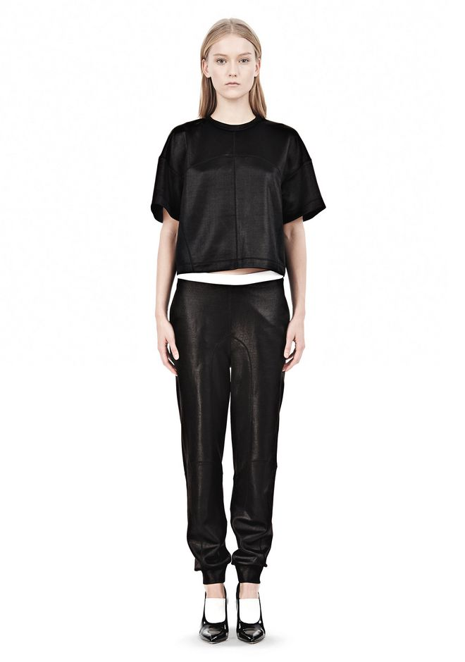 T by ALEXANDER WANG SHINY DOUBLE KNIT BOXY SHORT SLEEVE TEE Short sleeve t-shirt Adult 12_n_f