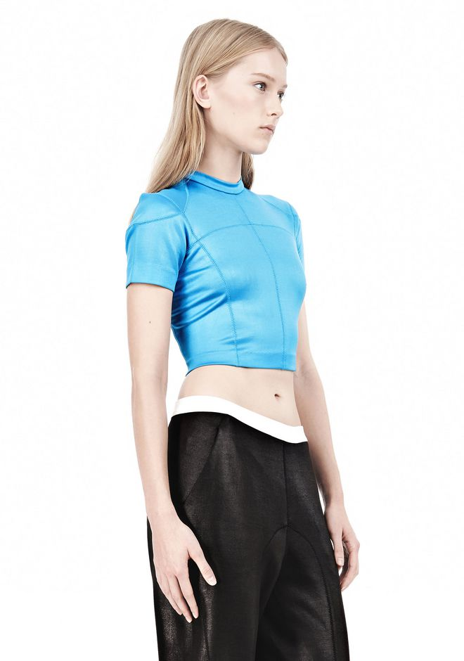 T by ALEXANDER WANG SHINY DOUBLE KNIT MOCK NECK SCUBA TEE TOP Adult 12_n_a