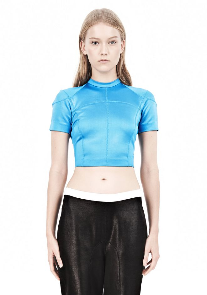 T by ALEXANDER WANG SHINY DOUBLE KNIT MOCK NECK SCUBA TEE TOP Adult 12_n_e