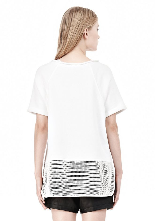 T by ALEXANDER WANG FRENCH TERRY SHORT SLEEVE TEE WITH MESH SWEATER Adult 12_n_d