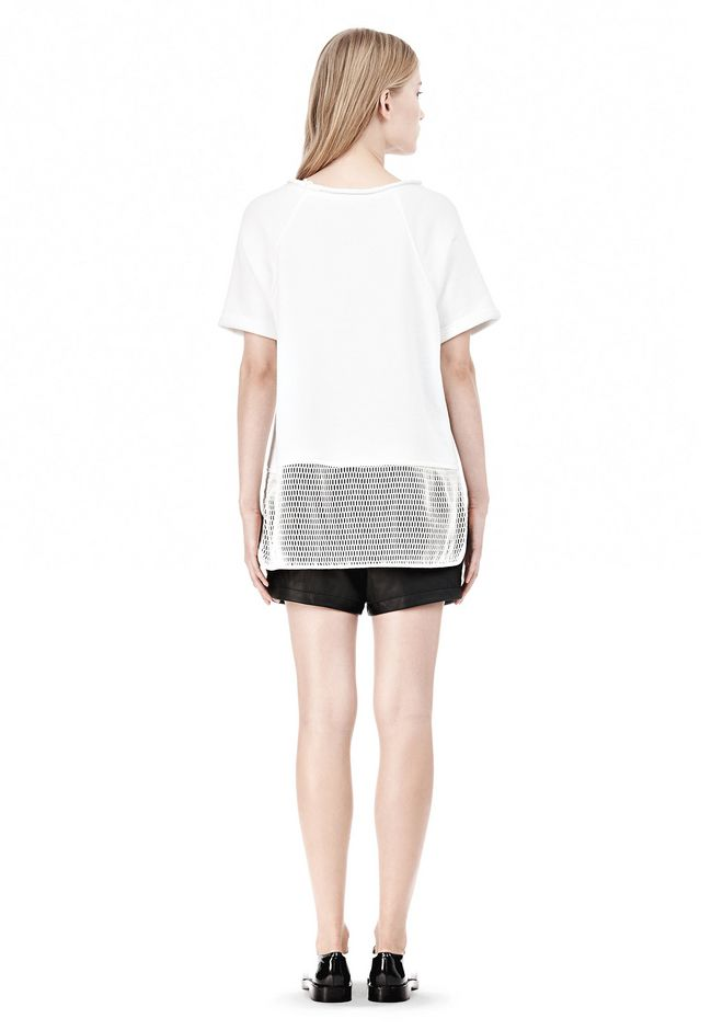 T by ALEXANDER WANG FRENCH TERRY SHORT SLEEVE TEE WITH MESH SWEATER Adult 12_n_r