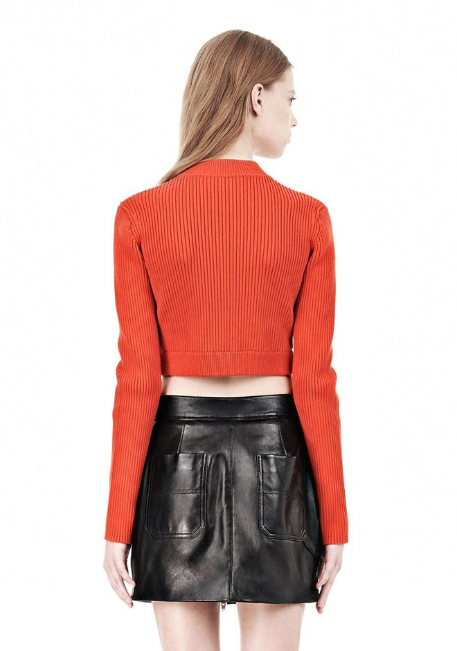 T by ALEXANDER WANG COTTON RIB TWO-WAY ZIP CROPPED CARDIGAN CARDIGAN Adult 12_n_d