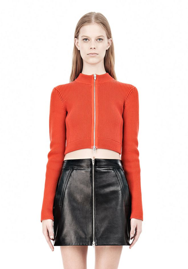 T by ALEXANDER WANG COTTON RIB TWO-WAY ZIP CROPPED CARDIGAN CARDIGAN Adult 12_n_e