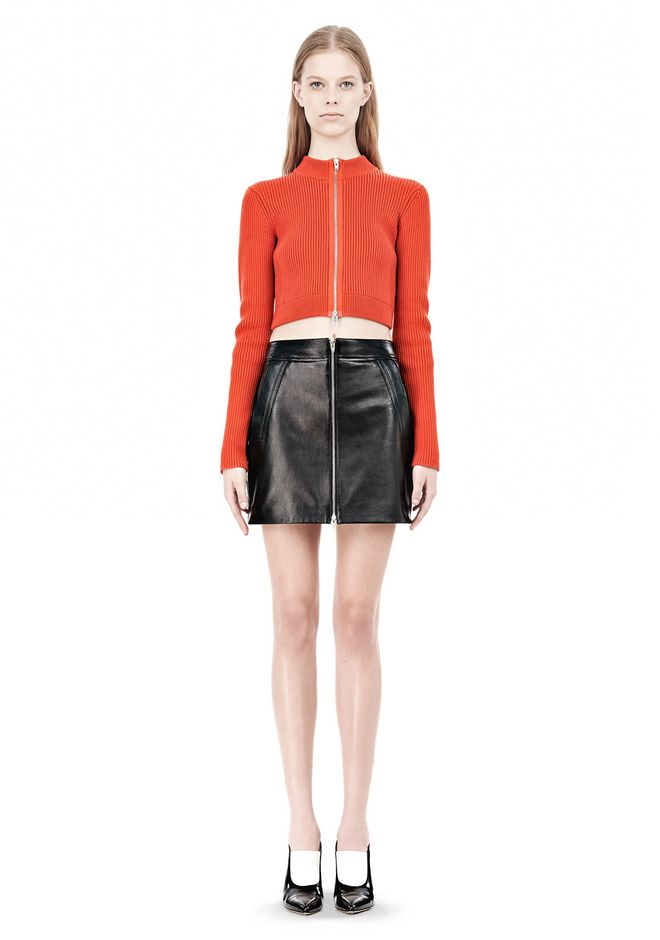 T by ALEXANDER WANG COTTON RIB TWO-WAY ZIP CROPPED CARDIGAN CARDIGAN Adult 12_n_f