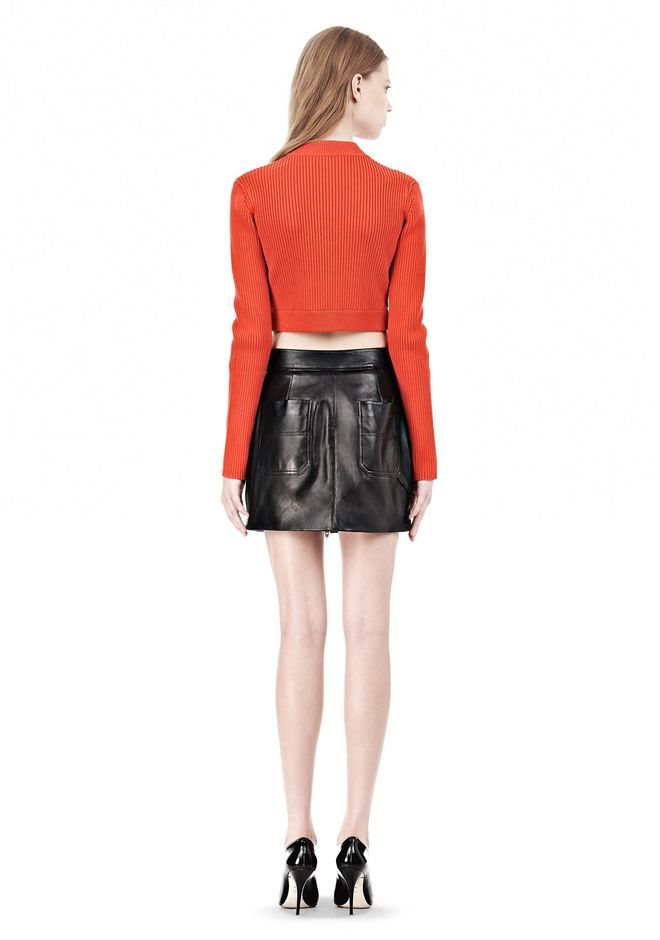 T by ALEXANDER WANG COTTON RIB TWO-WAY ZIP CROPPED CARDIGAN CARDIGAN Adult 12_n_r