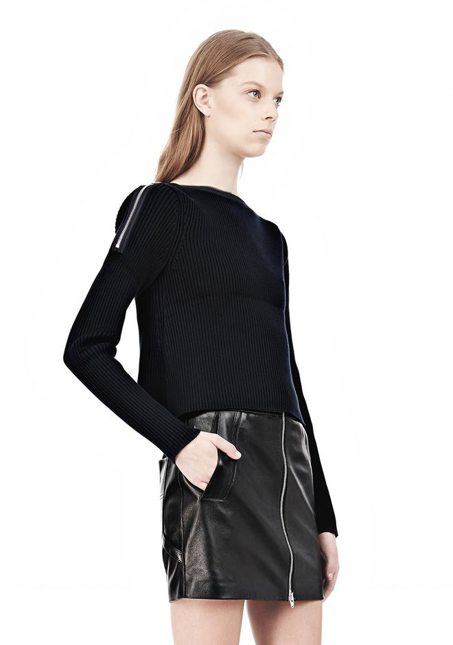 T by ALEXANDER WANG COTTON RIB KNIT BOATNECK PULLOVER Crewneck Adult 12_n_a