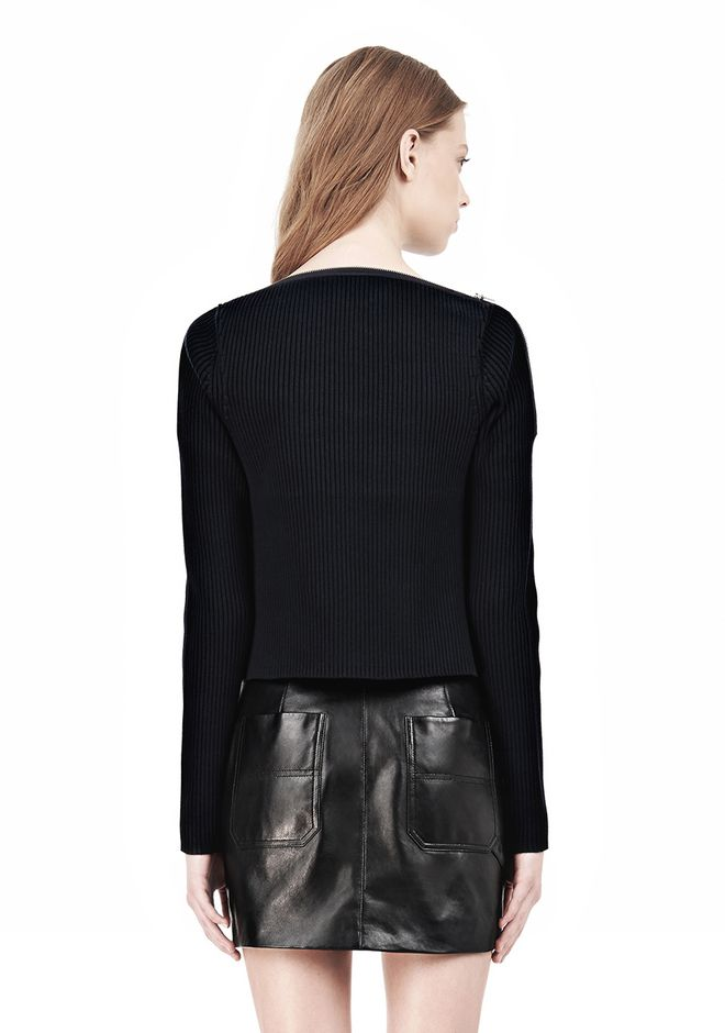 T by ALEXANDER WANG COTTON RIB KNIT BOATNECK PULLOVER Crewneck Adult 12_n_d