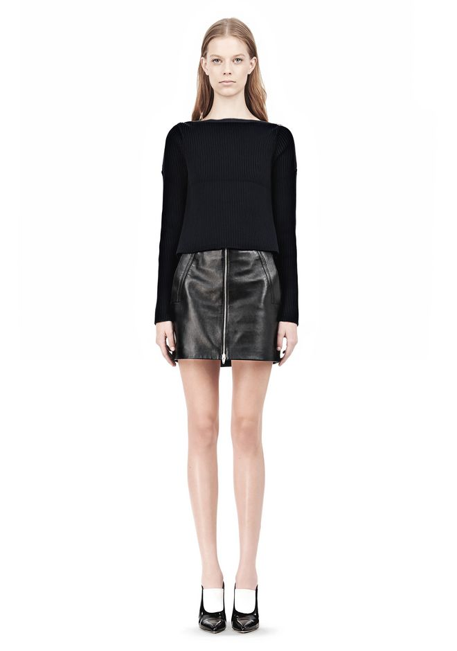T by ALEXANDER WANG COTTON RIB KNIT BOATNECK PULLOVER Crewneck Adult 12_n_f