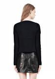 T by ALEXANDER WANG COTTON RIB KNIT BOATNECK PULLOVER Crewneck Adult 8_n_d