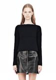 T by ALEXANDER WANG COTTON RIB KNIT BOATNECK PULLOVER Crewneck Adult 8_n_e