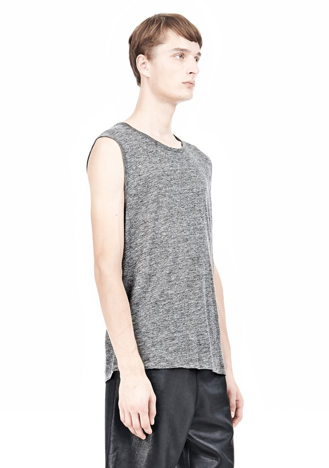 T by ALEXANDER WANG HEATHER LINEN MUSCLE TANK TEE Adult 12_n_a