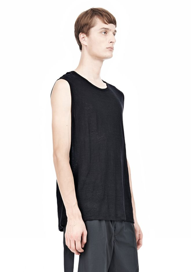T by ALEXANDER WANG LINEN SILK MUSCLE TANK TEE Adult 12_n_a