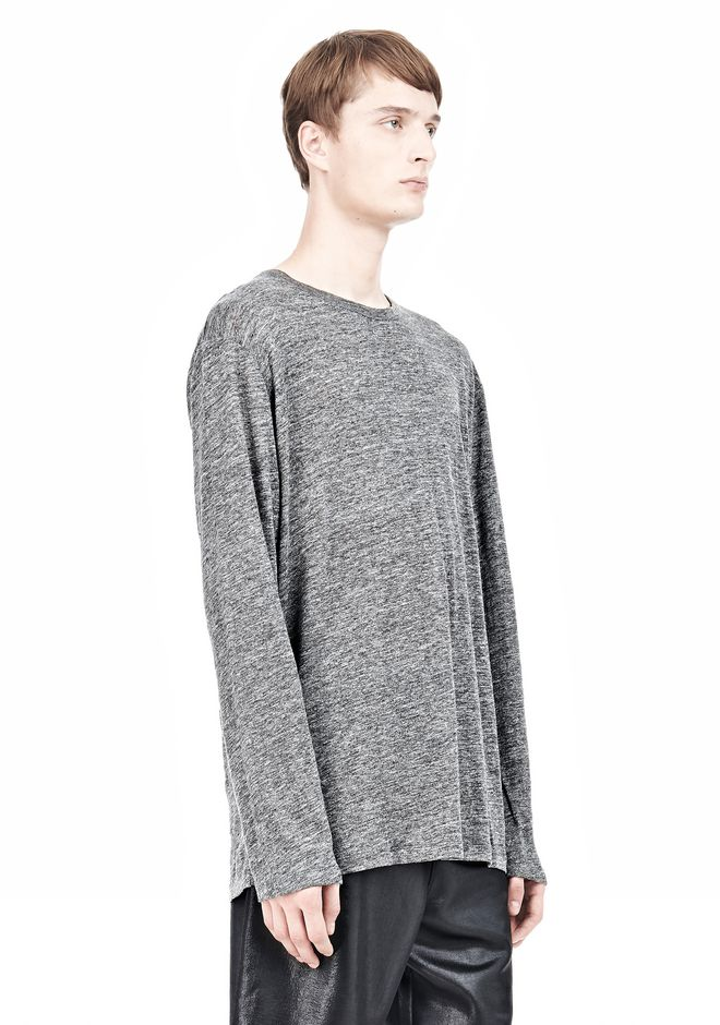 T by ALEXANDER WANG HEATHER LINEN LONG SLEEVETEE Crewneck Adult 12_n_a
