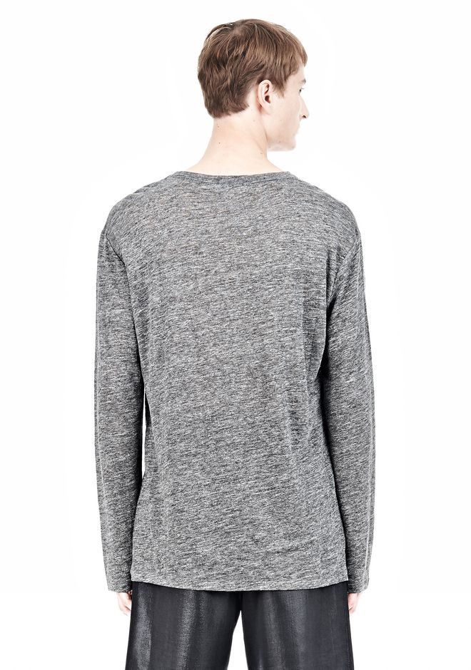 T by ALEXANDER WANG HEATHER LINEN LONG SLEEVETEE Crewneck Adult 12_n_d