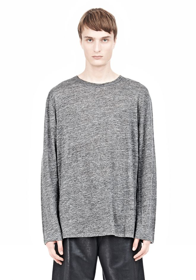 T by ALEXANDER WANG HEATHER LINEN LONG SLEEVETEE Crewneck Adult 12_n_e