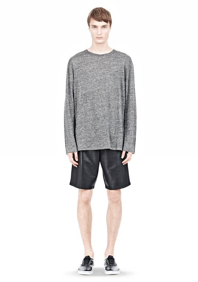 T by ALEXANDER WANG HEATHER LINEN LONG SLEEVETEE Crewneck Adult 12_n_f